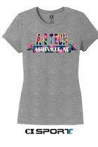 A-B TECH LADIES CUT TEE - GREY FROST WITH FLORAL LETTERS